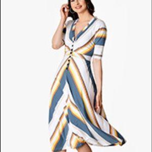 eshakti 70s chevron striped dress, sleeveless